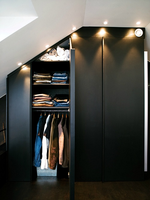 Under pitched roof closet