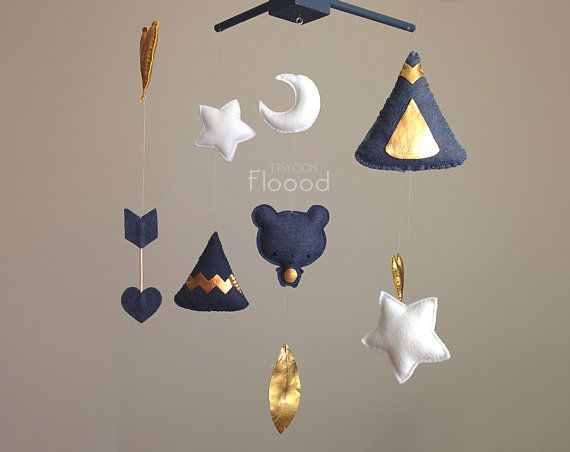 Baby Mobile Teepee Arrows Feathers Indian Nursery Decor von Floood