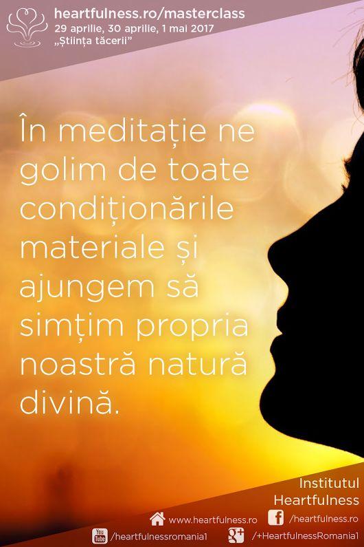 """În #meditație ne golim de toate #condiționările_materiale și ajungem să simțim propria noastră #natură_divină. 29 aprilie, 30 aprilie, 1 mai 2017 - #masterclass_în_meditație """"Știința tăcerii"""". Detalii aici: www.heartfulness.ro/masterclass"""