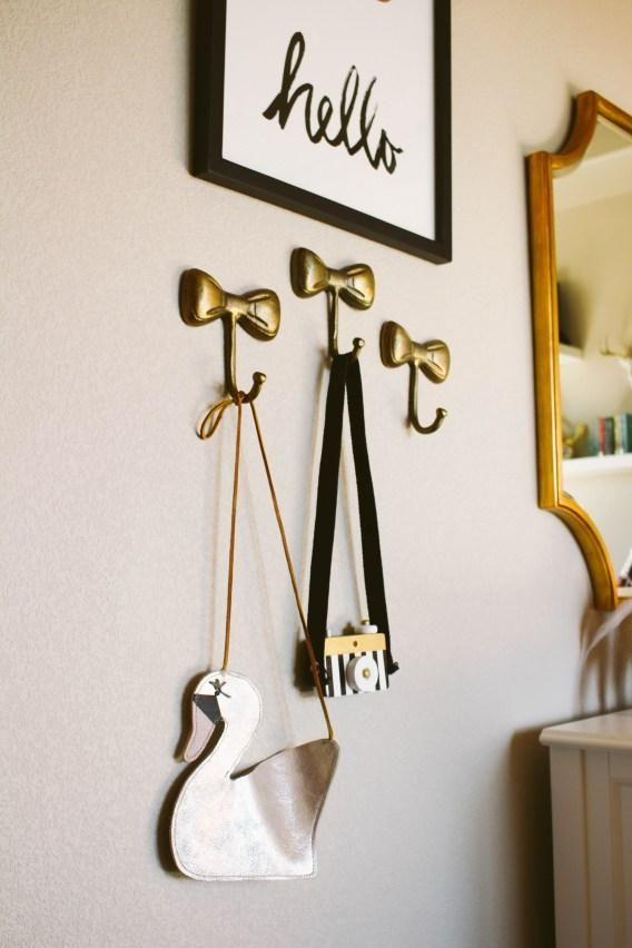 hello tiny love a mama lifestyle blog featuring our gold bow wall hooks - Decorative Wall Hooks