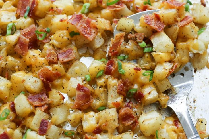 Crispy roasted potatoes, topped with melting cheese and plenty of crisp bacon are a great side dish for any meal - recipe by Barefeet In The Kitchen