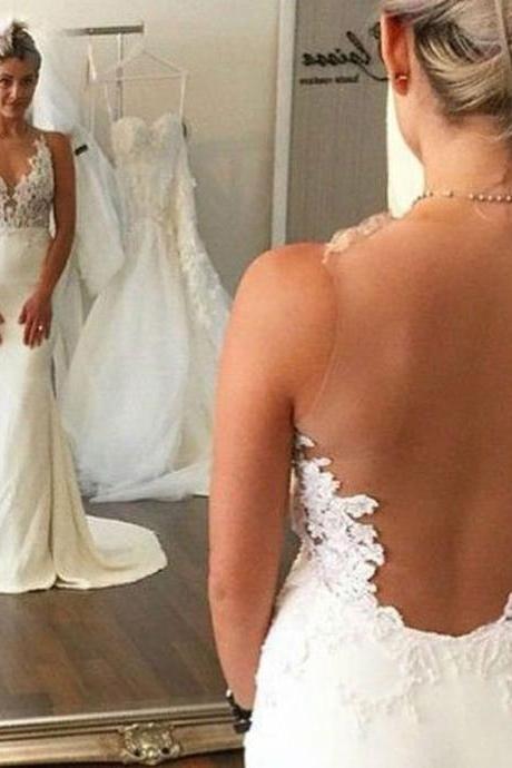 Sexy Sheath Wedding Dress - Jewel Sleeveless Illusion Back with Lace Top Sweep Train
