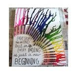 Crayons de colle chaude sur une toile et d'utiliser un sèche-cheveux pour faire fondre les crayons. *Chaque histoire a une fin. Mais dans la vie, chaque fin n'est qu'un nouveau commencement.*