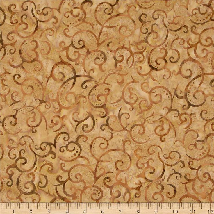 Indonesian Batiks Scroll Tan