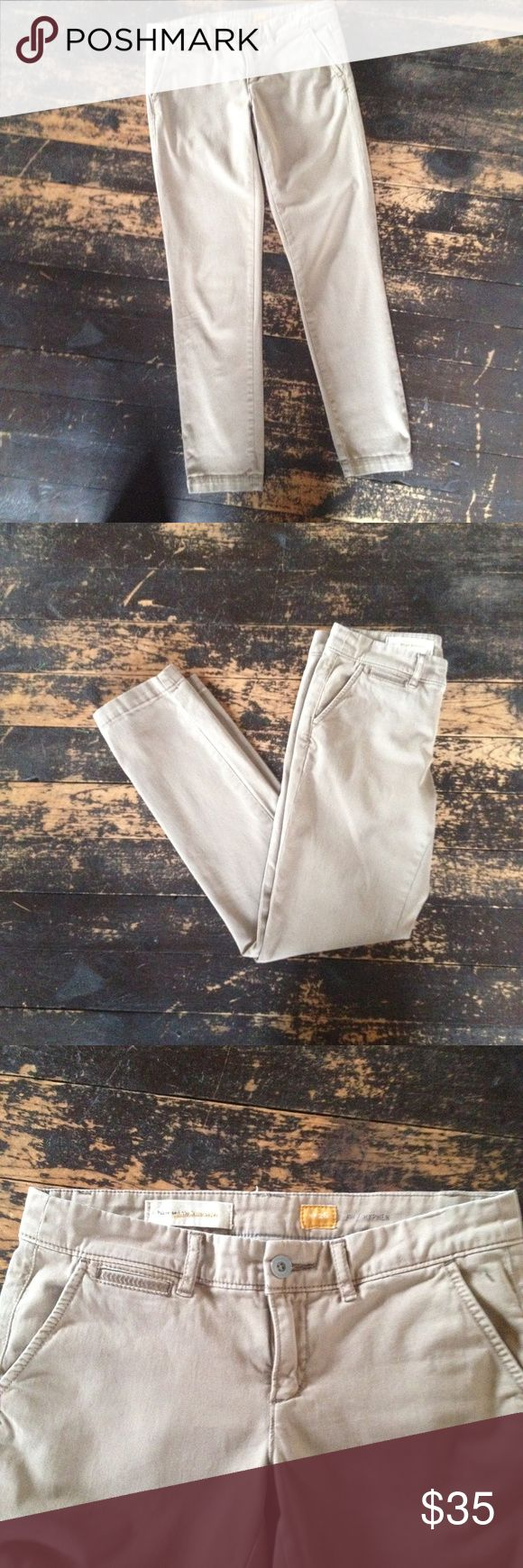 Pilcro and the Letterpress Hyphen Fit Tan Chinos Anthropologie Pilcro and the Letterpress Hyphen Fit Tan Chinos.  Great Condition Slightly relaxed and incredibly soft Front Slant, Back Welt Pockets Machine Wash Inseam 30, Rise 8 99% Cotton, 1% Spandex Anthropologie Pants