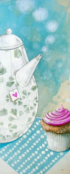 Ilustración Tetera y cupcake  - Teapot and cupcake illustration