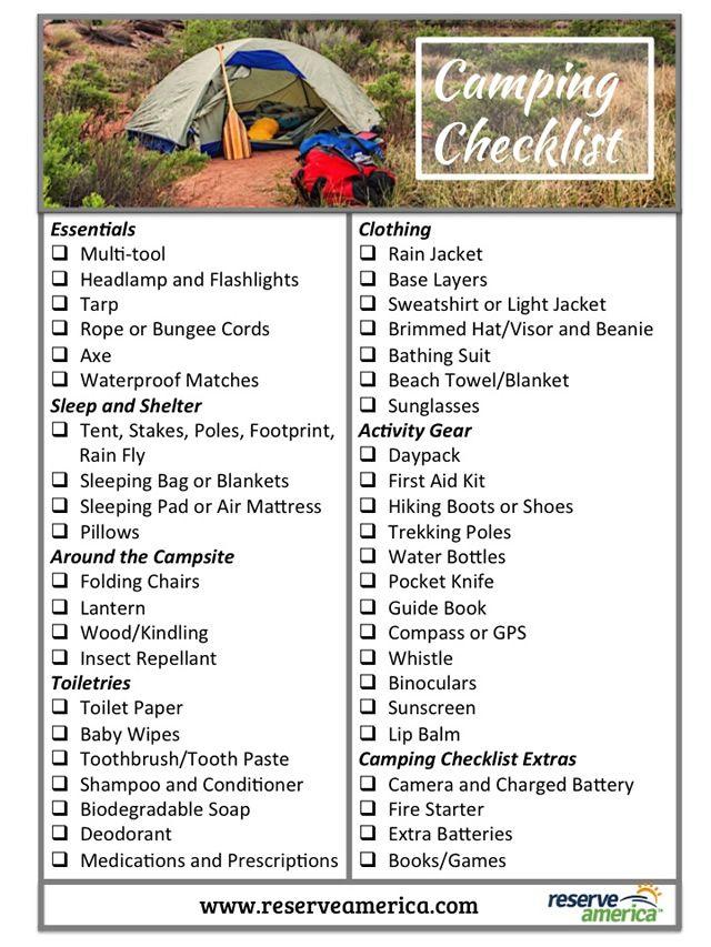 printable camping checklist