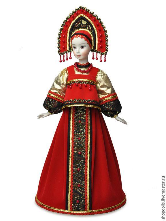 Купить Кукла-Конфетница Варвара - ярко-красный, русский стиль, авторская работа, коллекционная кукла