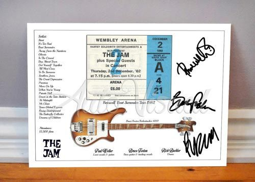 Paul Weller The Jam Wembley Arena London 1982 Concert Ticket Signed Photo Print