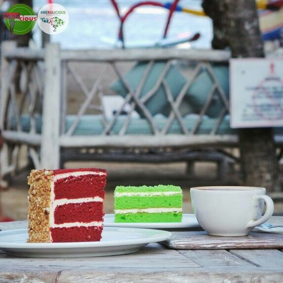 "Food Blog Bali Food: Red Velvet & Panda Velvet Cake Delicious: 3/5 Foodcious: let's headed to Sanur Beach and treat your self with something sweetlicious.  A soft, smooth & delicious duo ""tasty"" red and ""aromatic"" green pandan velvet cake, turns my lazy afternoon into yummy afternoon. ••• ••• ••• @byrdhousebeachclub Rp 50k - Rp 100k Segara Village. Jl. Segara Ayu #Sanur ••• ••• ••• #redvelvet #beach"