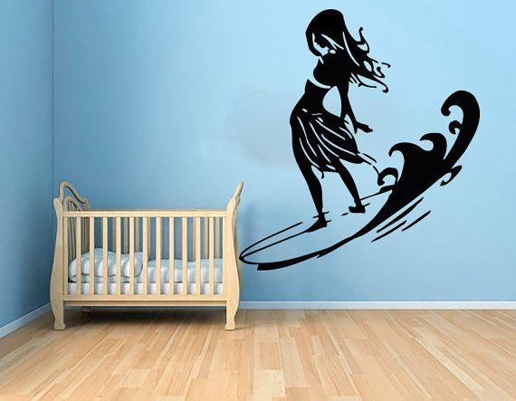 Wall Decals Surfing Decal Vinyl Sticker Girl Window Baby Children Kids Nursery Bedroom Bathroom Interior Design Home Decor Art Murals Ah51