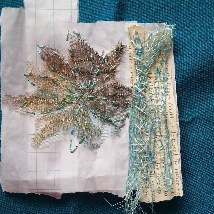 "Katen Mundt / littlebirdiequilting - ""Another little piece to add to an artist's book. Scraps of fabric and thread stitched to paper scraps. I started this little project in an online class with @karenruane and it is still ongoing!- just adding pieces to it when I can."""