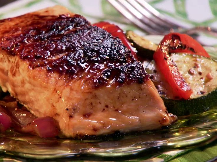 Maple and Mustard Glazed Salmon from Paula Deen.  AMAZING & EASY
