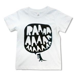 Image of RAAAAA Dinosaur T-shirt Black on White