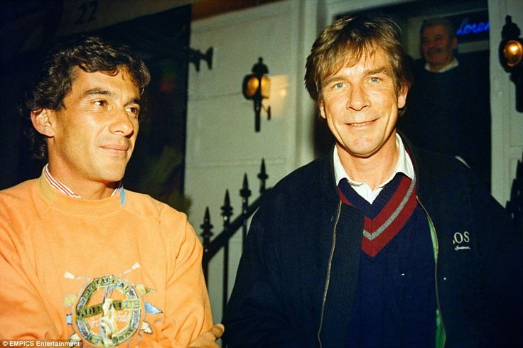 Former Formula One World Champion James Hunt (right) with McLaren's current World Champion, Ayrton Senna