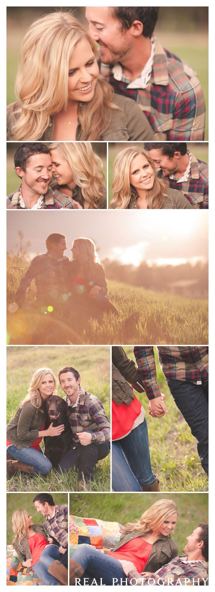 couple posing ideas with dog and quilt rural setting sunset pictures engagement photographer colorado springs