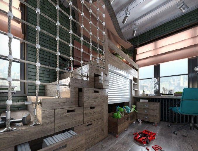 Детская комната мальчика. Лофт. (2 вар-т)_3, Квартира Лофт в г.Москва. Визуализация., , просмотров 245