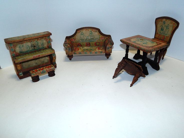 Nice Antique Bliss Dollhouse Furniture Paper Litho On Wood Couch Piano Table  Chairs | EBay