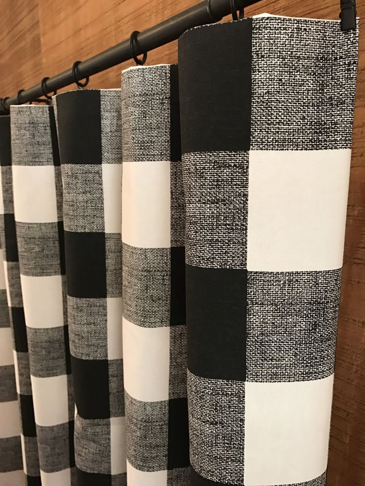"Plaid Curtains, Large 3"" Buffalo Check, Nursery Room Curtains, Farmhouse Style Curtains, Designer Curtains 24W x 90L by CanvasCarnival on Etsy - $84"