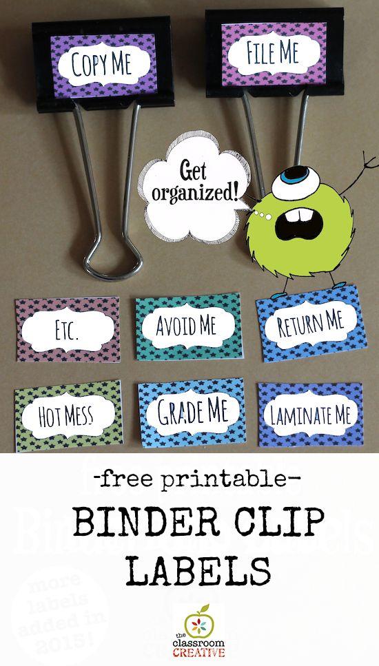 Organización del aula: Clip de la carpeta de etiquetas (gratuito para imprimir)