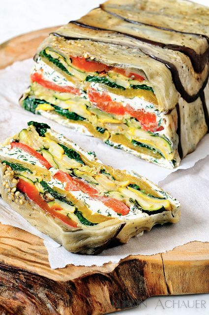 This is delicious! Recipe can be found here: http://www.foodnetwork.com/recipes/emeril-lagasse/roasted-vegetable-and-goat-cheese-terrine-recipe.html