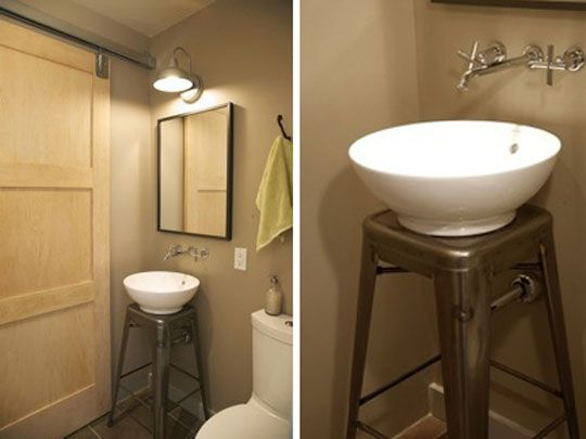 Stool used as pedestal sink  The designer repurposed a 30  steel Marais  stool from. 17 Best ideas about Small Sink on Pinterest   Tiny bathrooms