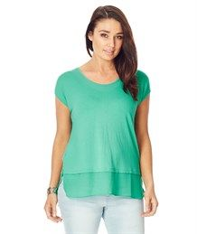 MIXED MEDIA CONTRAST HEM TOP Great colour top easy to wear with shorts and jeans