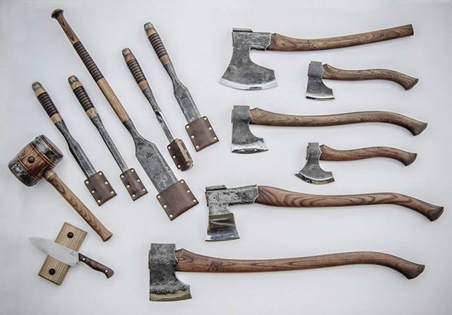 "Set of 5 timber framing tools, Heavy duty mallet, 7.5"" Elmax Steel Chef's knife, Double beveled Baltic-Finnish broad axe, Northlander hatchet, ""Robin Wood"" carving axe, Northlander forest Axe ""Stalwart"", Finnish splitting maul, Northlander felling axe. Christian's order finished! . . . #axe #axes #handforged #knife #knives #knivesdaily #knifecommunity #knifesale #axejunkies #bushcraft #bushcrafting #bushman #bushtools #vikings #viking #battle #battleaxe #vikingaxe #tools #kitchen #chef…"