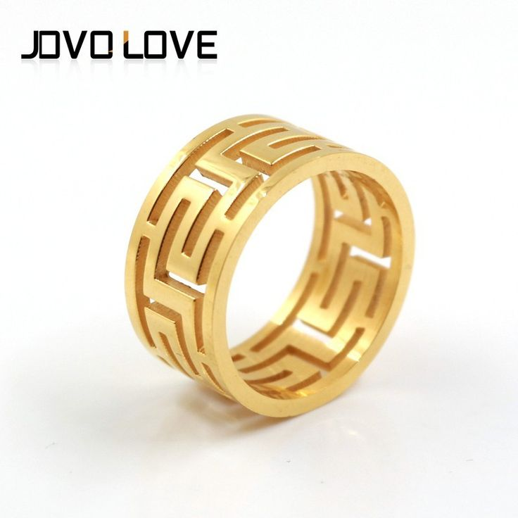 The Great Wall Pattern Hollow Out Wholesale Stainless Steel Jewelry Fashion Gold Rings Men Rings Cheap Rings Free Shipping