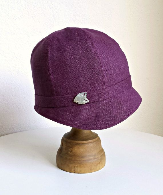 Purple Linen Cloche with Vintage Mother of Pearl by HatsWithAPast