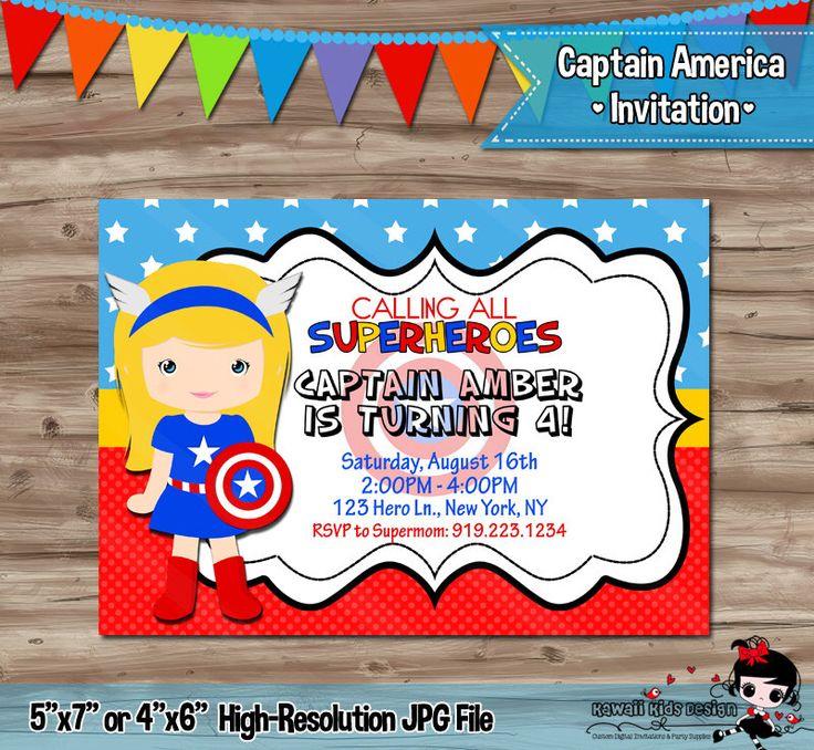 Captain America Girl Birthday Invitation Invite, Captain America Birthday, Captain America Superhero Digital Printable Invitation, JPG File by SewKawaiiKids on Etsy https://www.etsy.com/listing/227607232/captain-america-girl-birthday-invitation