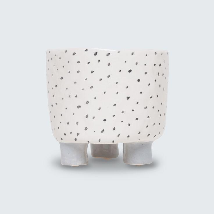 Beautiful hand-built ceramic planter with drainage holes by Katia Carletti.