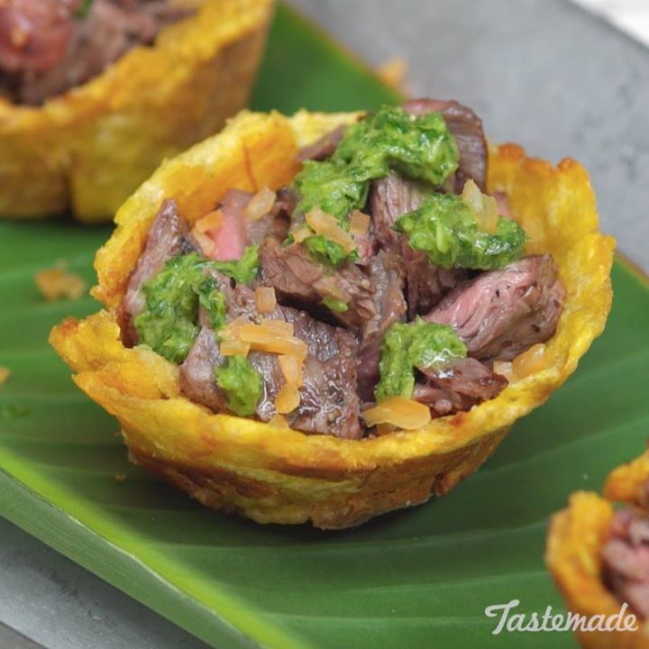 New Recipe Steak & Chimichurri Plantain Cup*Recipe in the comments!