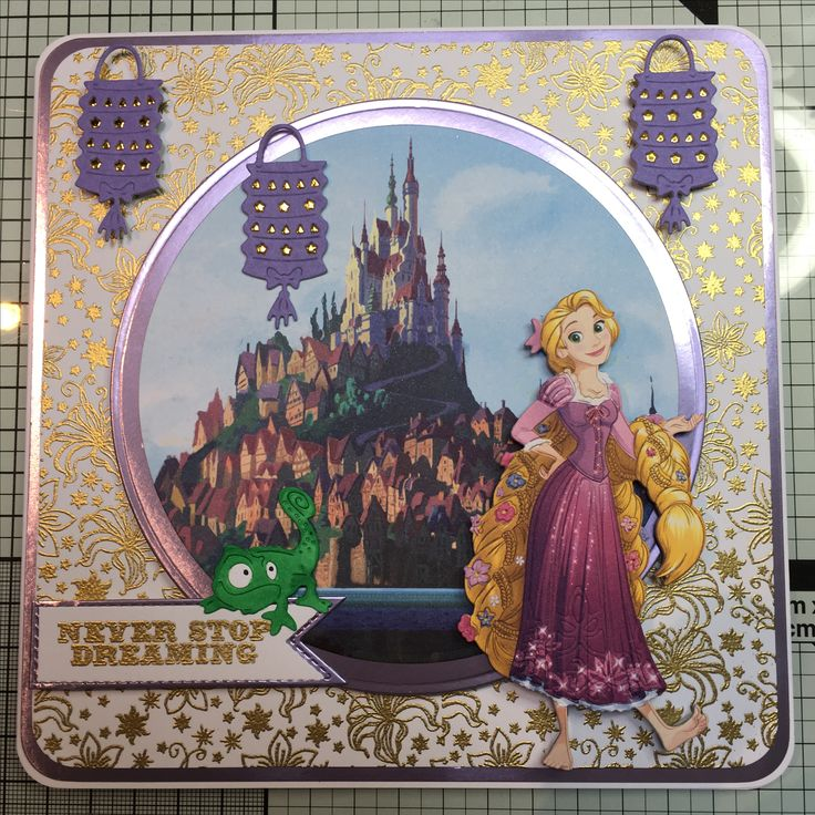 Disney Princesses - die cut from Colourful Creations, back ground paper and stamps