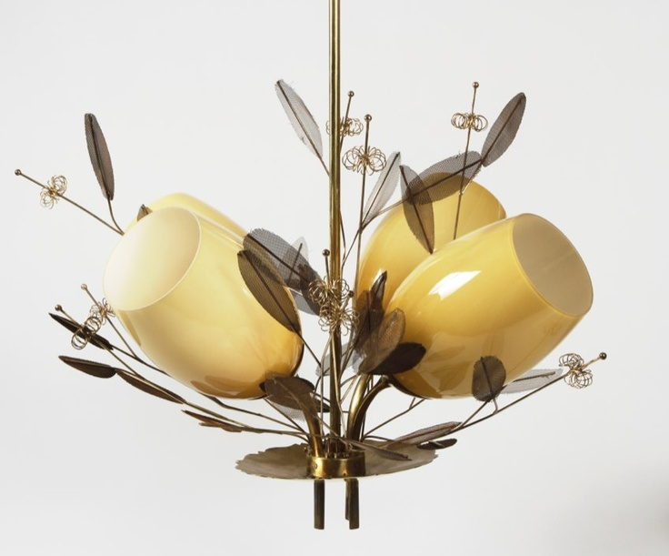 Ceiling fixture. by Paavo Tynell Like the combo of sleek + organic.