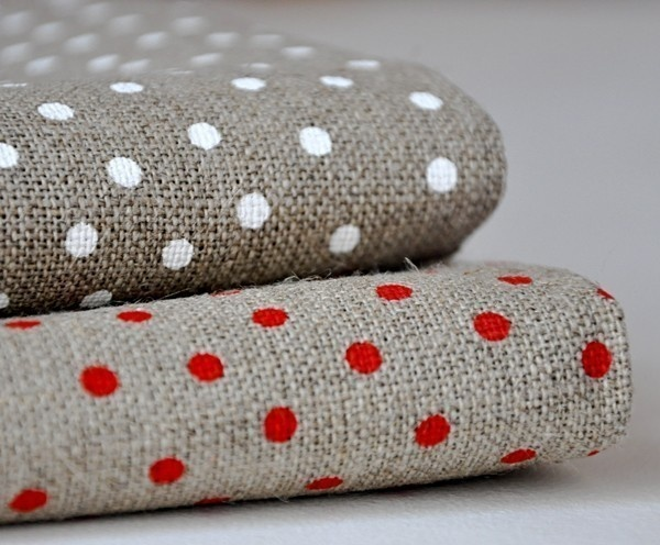 Linen with Small Dots White Large Piece by petitsdetails on Etsy. €13,00, via Etsy.