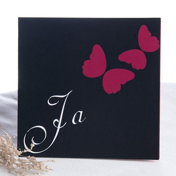 Glück und Sonnenschein  Pink Schmetterlinge Marinenblau Karten zur Hochzeit
