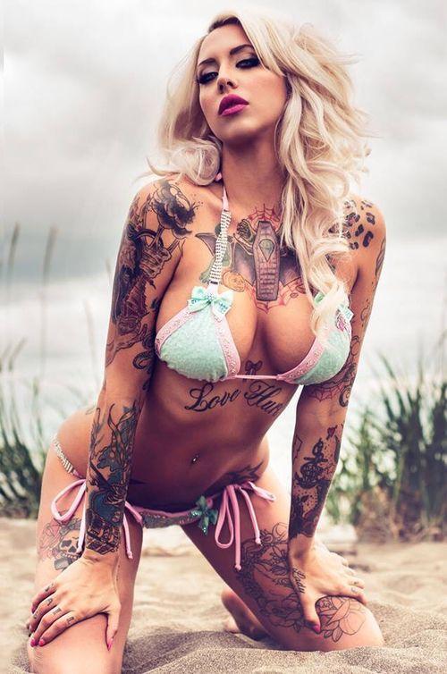 Dem Hot: Smoking Hot Tattooed Blonde Babe Posing In Bikini ...