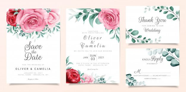 Elegant Wedding Invitation Card Template Set With Burgundy And Peach Watercolor Flowers Decor Wedding Invitation Card Template Floral Wedding Invitations Wedding Invitation Cards