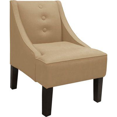 Skyline 3 Button Swoop Armchair Linen Sandstone Neat
