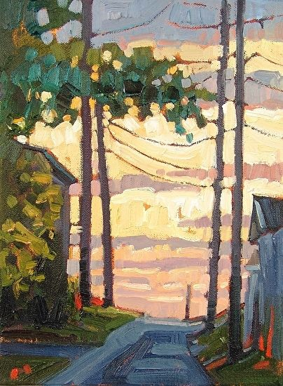 """""""Morning Alley,"""" by Rene Wiley by Rene' Wiley Gallery Oil ~ 12 x 10"""