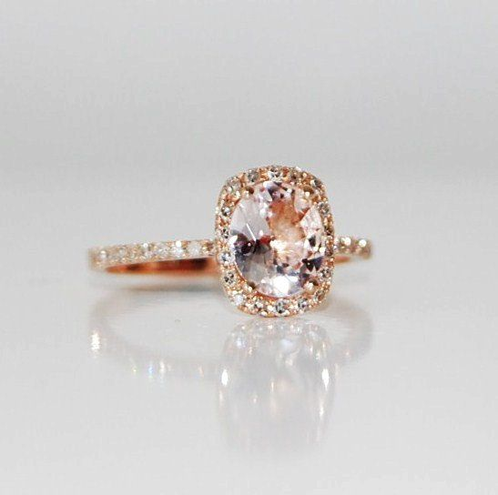 I kind of like the champagne color engagement ring! 1.5ct Cushion ice peach champagne color change sapphire in 14k rose gold diamond ring engagement ring