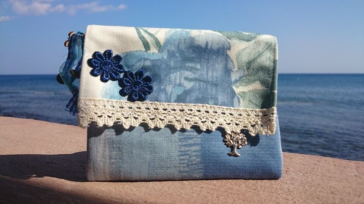 Beautiful Blue and Lace Purse from Mikisantorini by DaWanda.com