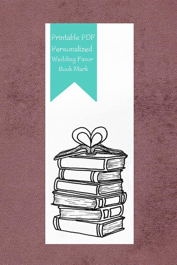 Afdrukbare bruiloft gunst | Boek Mark | Liefhebbers van boeken | Gepersonaliseerd boek Mark | Bibliotheek thema bruiloft