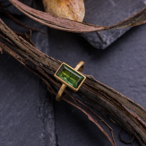 Gorgeous 4.7CT Baguette Green Tourmaline Ring by ZEHAVAJEWELRY