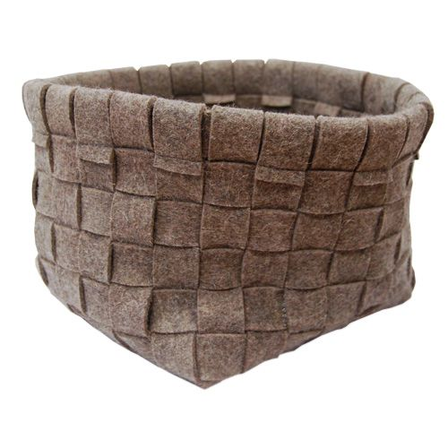 """Our large woven baskets are made of strips of gray industrial felt, pieced together in a beautiful traditional basket weave by hand. The large basket measures 11"""" x 11""""(279.4mm x 279.4mm) and is 9.5""""(241.3mm) high. Use it to hold magazines, books, newspapers, toys, diapers, or just about anything! It is perfect for your home or office."""