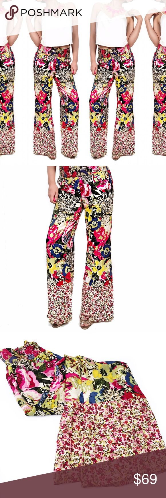 Anthropologie silk floral wide leg pants Super chic! No trades. Always open to offers. All photos are of actual item Anthropologie Pants Wide Leg