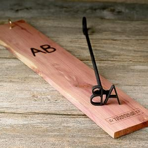 personalized blacksmith branding iron with hanging board personalized with up to 3 letters