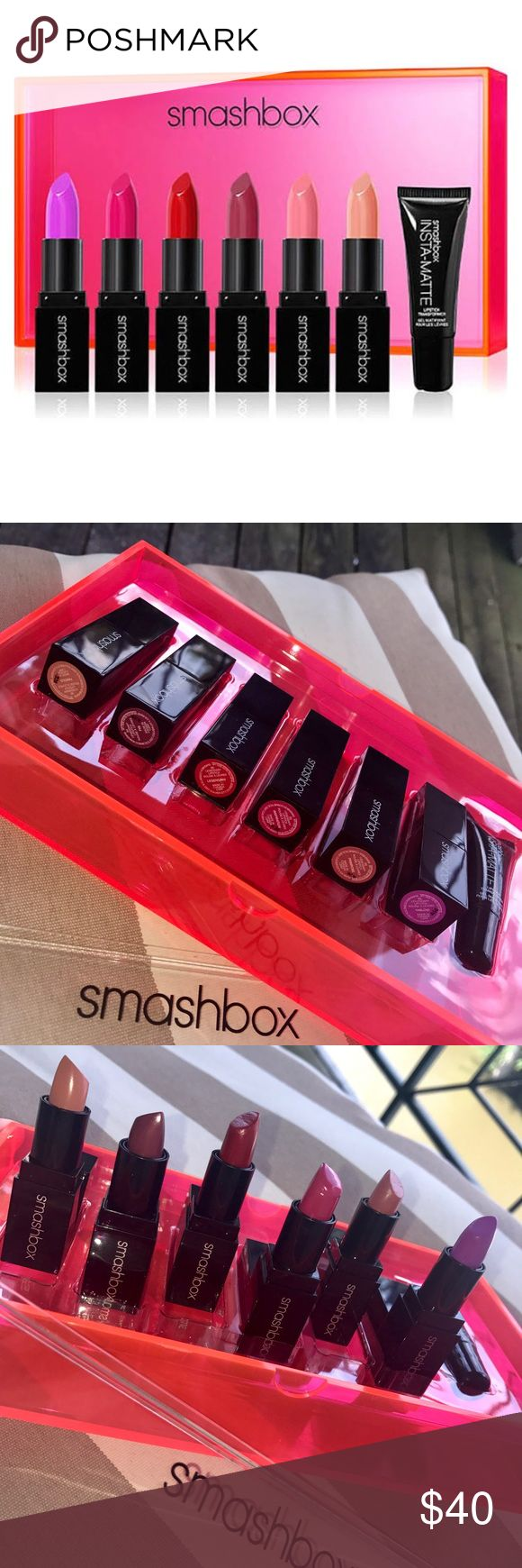 """Smashbox💄Light it Up Lipstick set +insta- Matte Smashbox Special Lipstick Set 💄6 Different colors + insta-Matte Lipstick transformer (turn any lipstick matte!!!) + original gift box [sturdy plastic - neon pink/orangish bottom and clear top]. Like new condition, some may have been color tested.       Lipstick Colors : From the """"Be Legendary"""" collection:  ~Famous (tan beige)  ~Fig (plum). ~Ledgendary (Red). ~Inspiration (Purplish Rose)  ~Primrose (dusty rose)  ~Tabloid (Fun Bright Purple)…"""