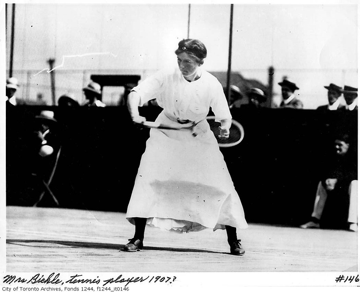 """Miss Bickle playing tennis,"" 1907. William James family fonds, City of Toronto Archives."